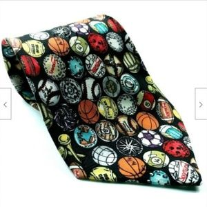 Nicole Miller Sports Balls Soccer Bowling Pool Tie